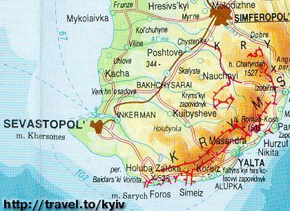 Crimea Map Simferopol Yalta Alupka Sevastopol Bakhchysarai